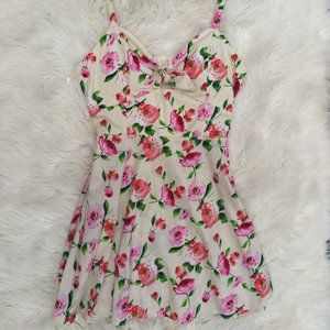 Speechless White and Pink Floral Dress with Bow